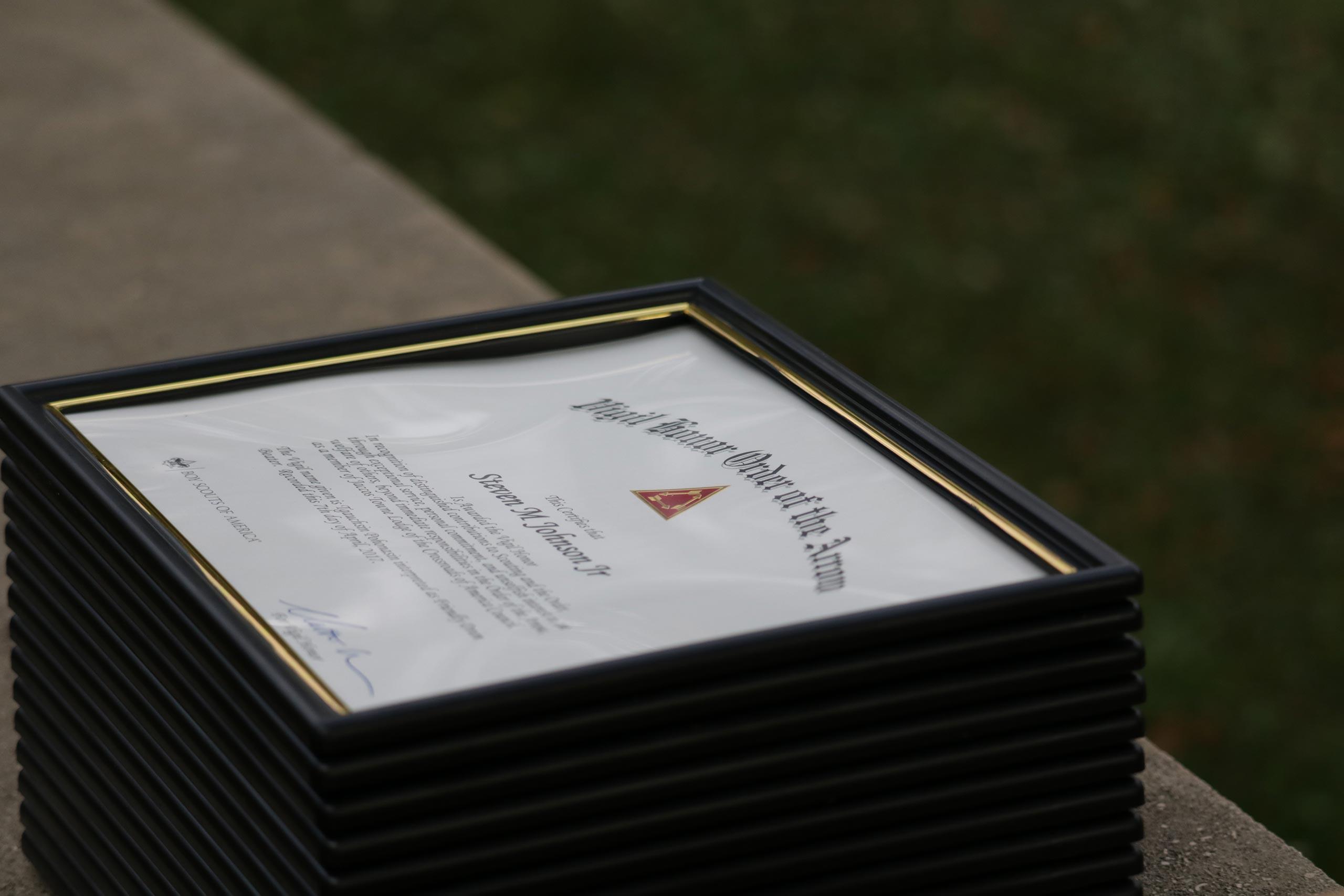 OA Vigil certificate